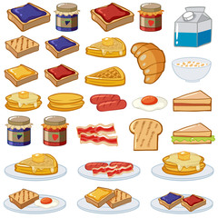 Breakfast set with different kinds of food