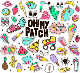 Fashion patches mega big vector set. Retro patches isolated