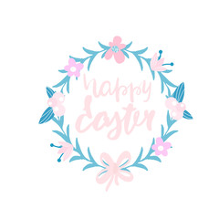 Happy Easter. Decorative floral wreath isolated on white.Greeting background.Vector Illustration