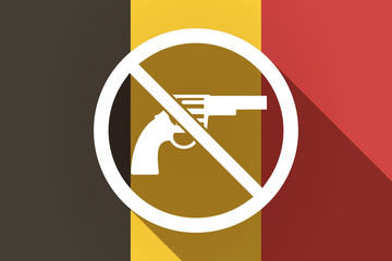 Long shadow Germany flag with  a gun  in a not allowed signal