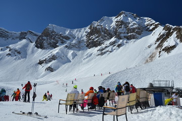 Athletes have a rest in mountains. Sochi, Krasnaya Polyana, Russia.