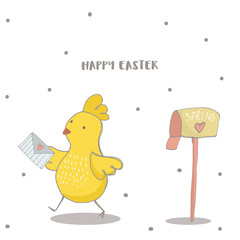 Happy Easter greeting background with cute chick with Love letter. Hand drawn vector Illustration.