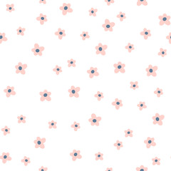 Cute seamless floral pattern.Pink flower on white background. Great for fabric, textile, wrapping