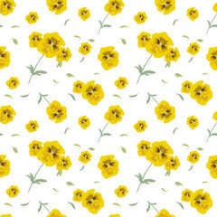 Seamless pattern of yellow flowers pansies on white background. Delicate floral texture for textile, Wallpapers, various design
