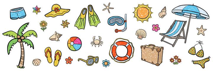 Farbiges Illustrations-Set: SOMMER-URLAUB / Kreidezeichnung, handgezeichnet, Vektor, freigestellt