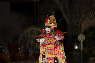 BALI, INDONESIA SEPTEMBER 27, 2015: Traditional dance Legong and Barong is performed by local professional actors in Ubud Palace