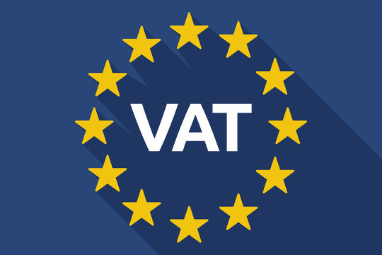 Long shadow EU flag with  the value added tax acronym VAT