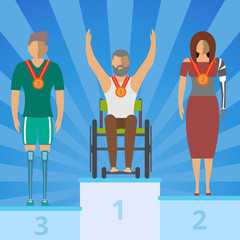 Disabled people on champion podium vector illustration. Young disabled man on wheelchair, man and woman with prosthetic arm and leg. Disabled active lifestyle, sport competition award ceremony