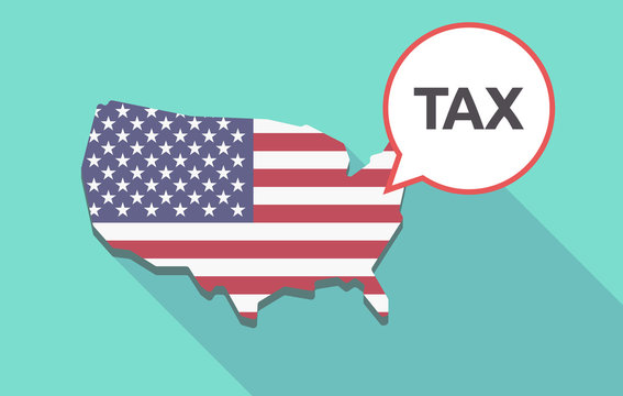 Long shadow USA map with  the text TAX