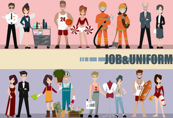People Group Different Occupation Set, Employees Mix Race Workers. Professor,actresses,designer,lifeguard,pilot,air hostess,fireman. Flat Vector Illustration