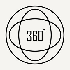 Simple icon of 360 Degree Image and Video Related Vector Line Icons.