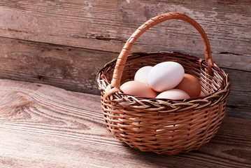 Eggs in a basket on a table