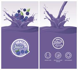 Drink menu with healthy juice splash