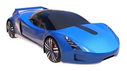 Papiers peints Cartoon voitures Blue shiny conceptual sports car of the future.
