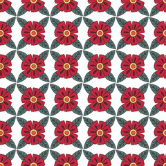 seamless pattern colorful doodle flowers, red flowers on a white background
