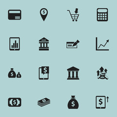 Set Of 16 Editable Investment Icons. Includes Symbols Such As Edifice, To Deposit Money, Money Card And More. Can Be Used For Web, Mobile, UI And Infographic Design.