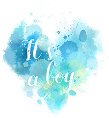 Babe gender reveal watercolored heart