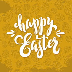 unique handwritten lettering Happy Easter on a seamless gold background with eggs