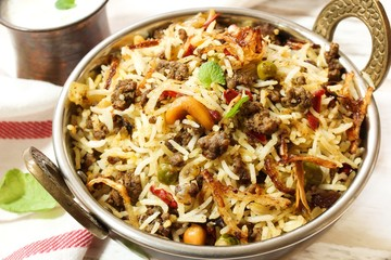 Keema /  Kheema  Biryani -Basmati rice cooked with minced meat and aromatic spices, selective focus