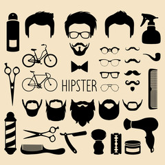 Vector set of dress up with men hipster haircuts etc.in flat style.App man faces creator with hairdresser salon elements