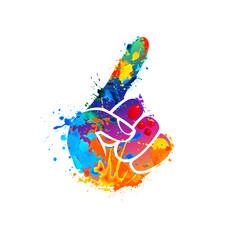 Forefinger symbol. Splash paint icon