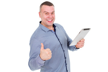 Portrait of Creative Businessman hold digital tablet in hand and show thumb up. Smile and happy mature man in stylish shirt working on digital tablet while standing isolated on white background