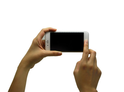 hands touching white phone isolated on white background
