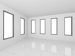 3D Rendering White Empty Room, interior illustration