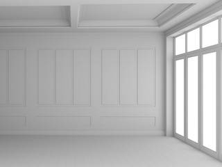 An empty white room with light and windows. 3D rendering.