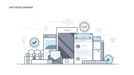 Flat Line Desin Header - App Development