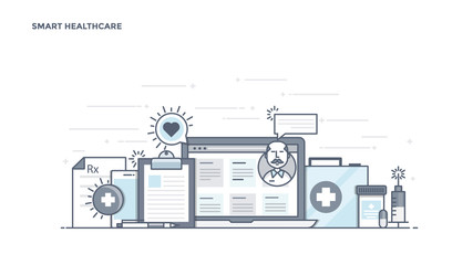 Flat Line Design Header - Smart Healthcare