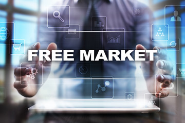 Businessman using tablet pc and selecting free market.