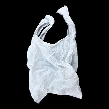 one white plastic bag isolated on black