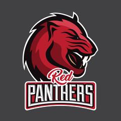 Vector panther head sports logo illustration. T-shirt, sticker, label design