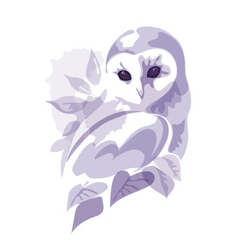 barn owl sitting on the tree in watercolor style