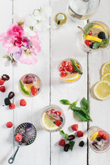 Assorted cocktails and berries