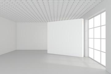 Empty blank billboard in white interior. 3d rendering.