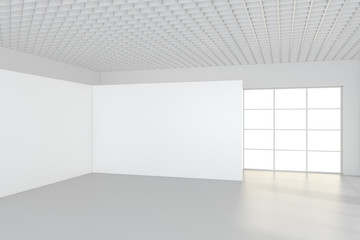 Modern empty room with white billboard. 3D Render.