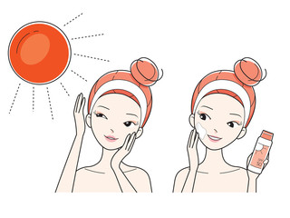 Young Woman Protect And Care Face From Sun Light, Facial, Treatment, Beauty, Cosmetic, Healthy, Lifestyle