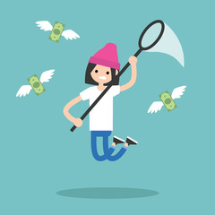 Young brunette girl trying to catch money with a nettle. Business concept / flat editable vector illustration, clip art