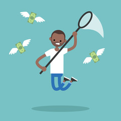 Young black man trying to catch money with a nettle. Business concept / flat editable vector illustration, clip art