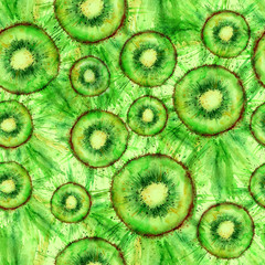 Vintage pattern with watercolors - kiwi fruit, spray, paint splash. Brightly green paint color. Fashionable background