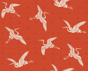 Japanese traditional pattern. Crane.