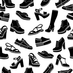 Shoes vector background, seamless pattern. Black sandals, boots, low shoe, ballet slippers, gumshoes, knee-high boots, ankle boots, slip-on, loafer on a white backdrop, monochrome illustration