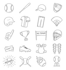 Baseball outline icon set. Baseball elements