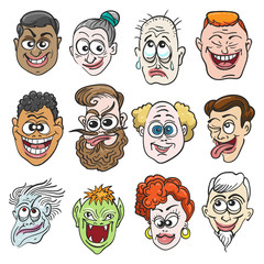 Colorful Doodle Faces Set