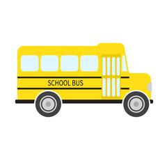 School bus in flat style. Vector illustration.