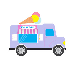 Ice cream truck/van  vector illustration.