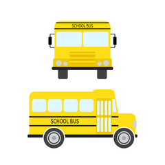 School bus in flat style. Vector illustration.