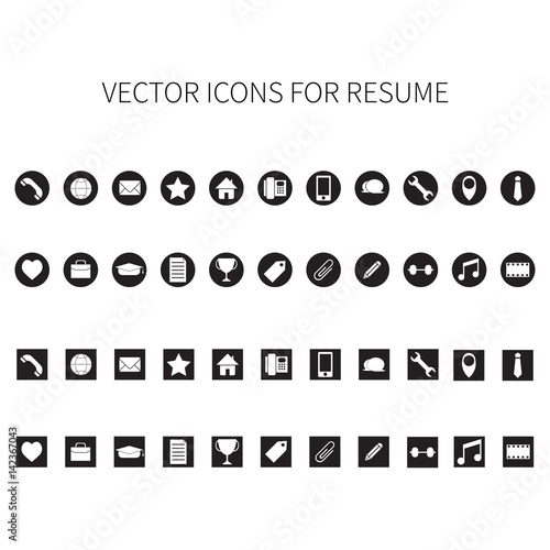 u0026quot vector icons for resume  u0026quot  stock image and royalty